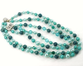 Fresh Mint Green & Teal Necklace Bracelet Set