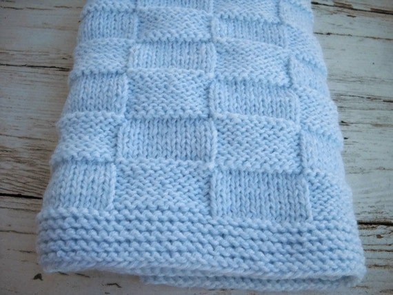 Blue Knit Blanket Hand Knit Basketweave Afghan Boy Knitted