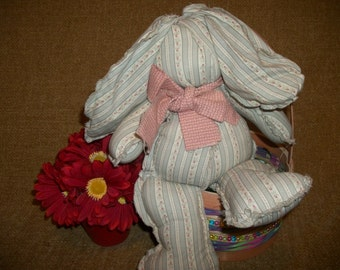 Bunny Rabbit Handcrafted Scrappy Soft Sculpture Springtime Country Farmhouse Vintage Home Decor Stuffed Animal