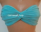 PADDED Spandex bandeau -bikini top- swimwear -swimsuit-summer- sun bathing-blue