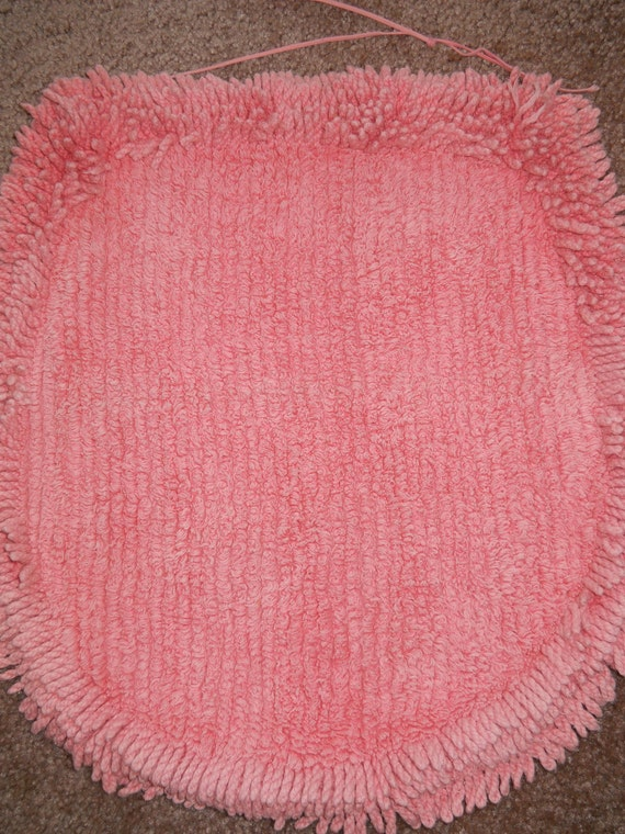 Vintage Toilet Seat Cover Stool Cover Chenille Pink Two