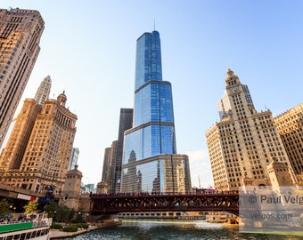 Chicago Cityscape Art Print - Chicago Trump Tower and Downtown Buildings Oversized Print, Canvas Wrap Prints, Large Wall Art, Photography