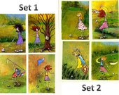 GOLF ART Mini painting prints Golf gift ladies golfing art print set 4 golf tee favors golf tournament table setting ACEO or Note cards gals