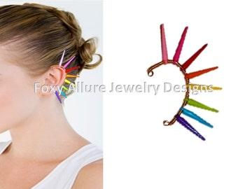 Spiked Ear Cuff, rainbow Ear Cuff, Ear cuff, Rainbow Spiked Ear Cuff, Mixed Color Ear Cuff, Multi Color Spike Ear Cuff