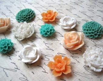 Pretty Magnets, 12 pc Flower Magnets, White, Aqua, Peach, Orange, Housewarming Gifts, Hostess Gifts, Wedding Favors