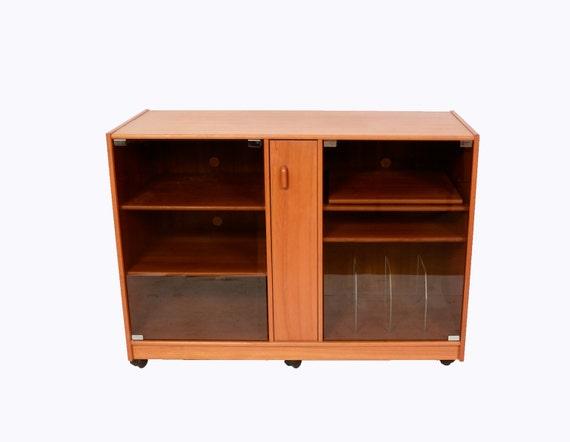 Teak Stereo Cabinet with Glass Doors Credenza Danish Modern