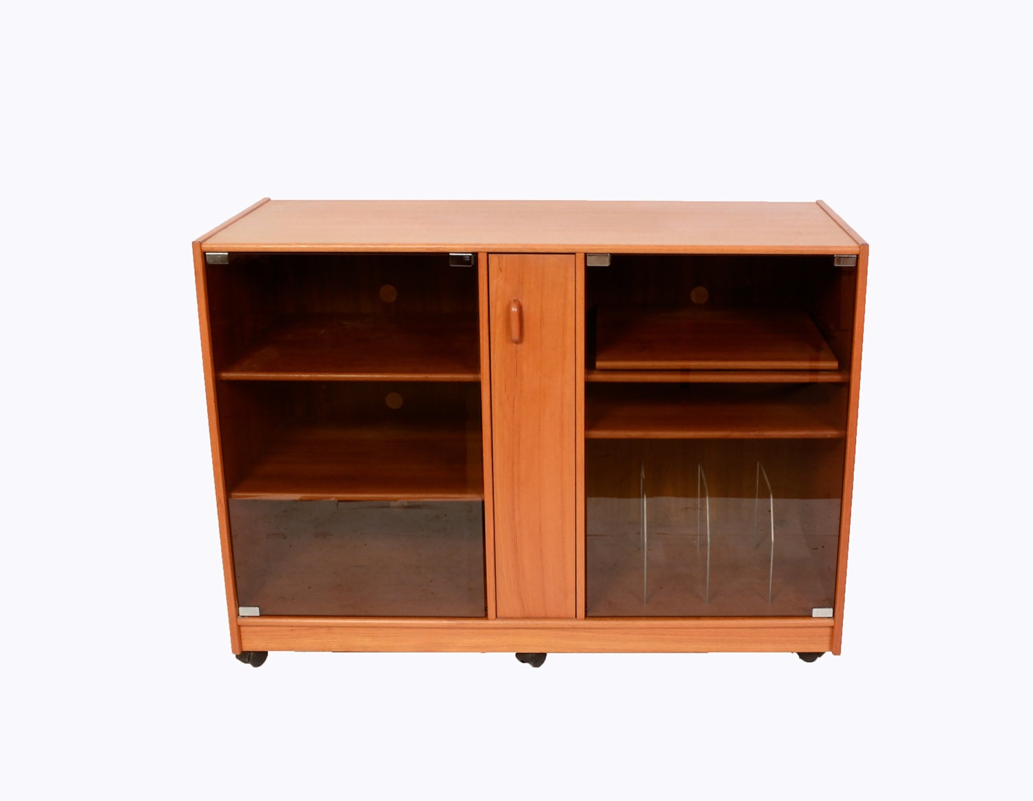 Teak stereo cabinet with glass doors credenza danish modern for Modern cabinet doors