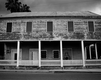 Fine Art Photography-Old Key West- Black and White Image-8x12-Travel Photography-architecture-home decor-art print-abandoned house-