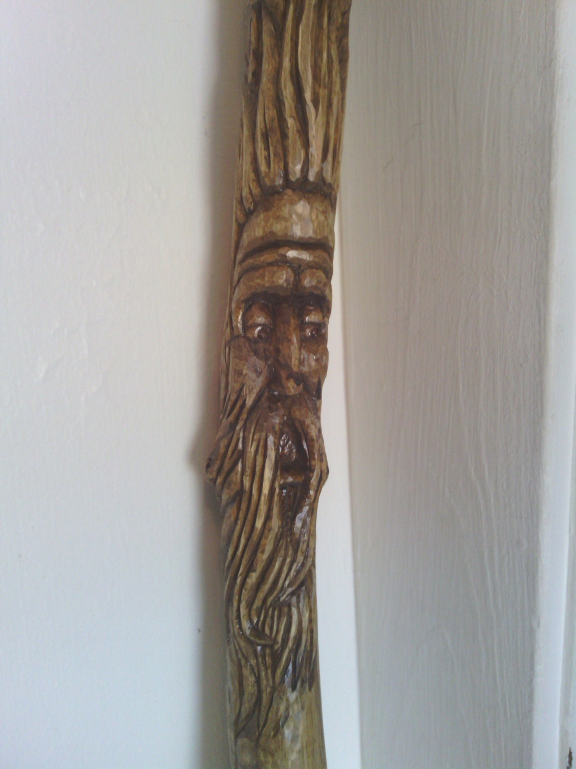 Hand carved tree spirit cane walking stick with old man of the