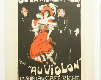 "J.A. Grun, Original Maitres de L'Affiche Poster, French 1897, Plate No.103, Ad for the ""Violin"" at the Cafe Riche."