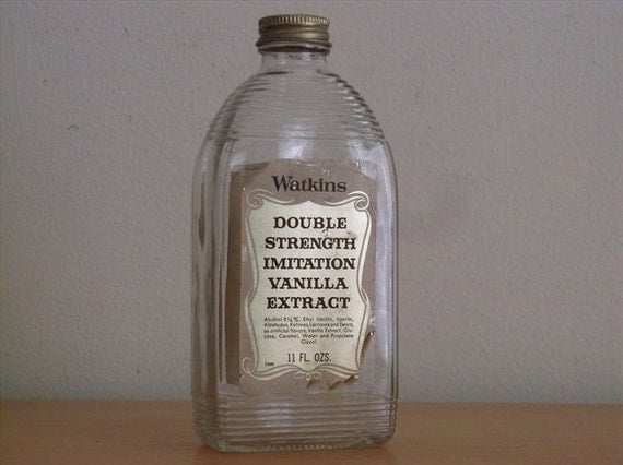 Double Strength Glass Cutting : Vintage watkins vanilla extract glass bottle by