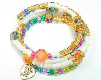 Memory Wire Bracelet, Colorful Beaded Bracelet, Beaded Bracelet, Etsy Handmade, Custom, Beaded Jewelry, Women's Bracelet