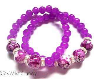 Purple,White Beaded Bracelet, Bracelet Set,Stretch Bracelets, Handmade, Custom, Beaded Jewelry