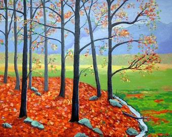 Original Landscape Painting Autumn Painting Large Painting Green Orange Red Blue Lavender