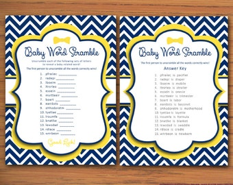 MS Word Baby Shower for B oy Games Scramble Baby Words with Answer Key ...