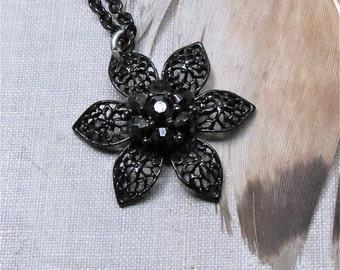 Goth necklace black flower Filigree flower