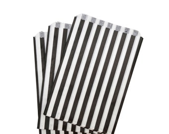Black and White Striped Paper Bags