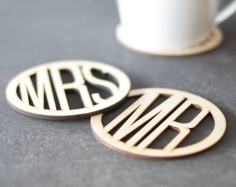 Mr and Mrs Wooden Coasters - Drinks Coasters - Housewarming Gift - Coaster Set - Wedding Gift - Gift for Couples - Wood Coasters