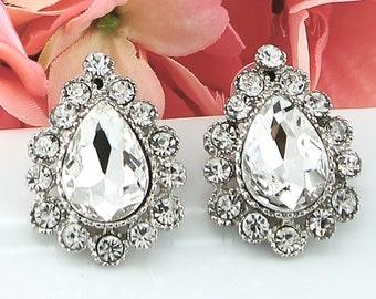 Bridal Crystal Earrings, Crystal Silver Wedding Earrings, Brides Flower Post Earrings, Wedding Accessories, Style-415