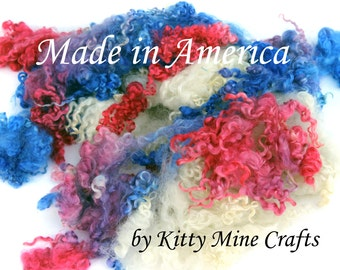 Kettle Dyed Wensleydale Wool Locks - 4.5oz - Doll Hair, Spinning, Felting - Hand Dyed - Made in America