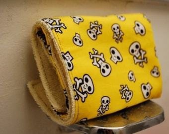 Reusable yellow towelettes with little skulls/ small skulls on yellow fabric/washcloths/ hand towels/ face towels