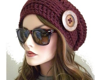 Burgundy Slouchy Hat,  Slouchy Beanie , Winter Fashion, Winter Accessory, Hat with Button, Burgandy hat, Gift for Women