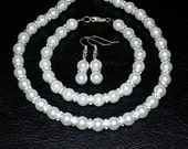 White Pearl Set  with Crystal Rhinestone Spacers 3pc
