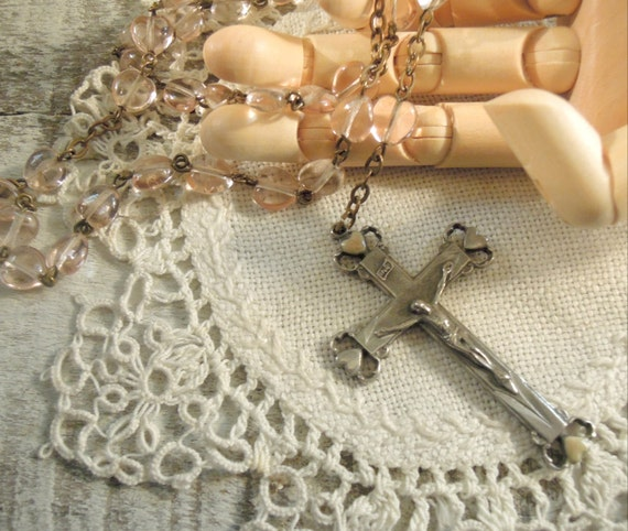 Vintage Pink / Rose Heart Rosary / Crucifix