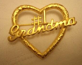Vintage Signed JJ Gold pewter Number One Grandma Brooch/Pin