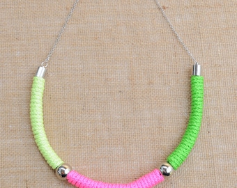 Neon Rope Necklace - Pink, Yellow & Green
