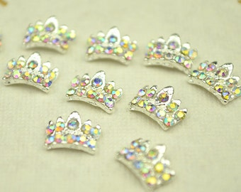 10-50pcs 3D silver Alloy Crown Nail Art stickers Rhinestones, Crafts Decoration, Nails Decoration DIY