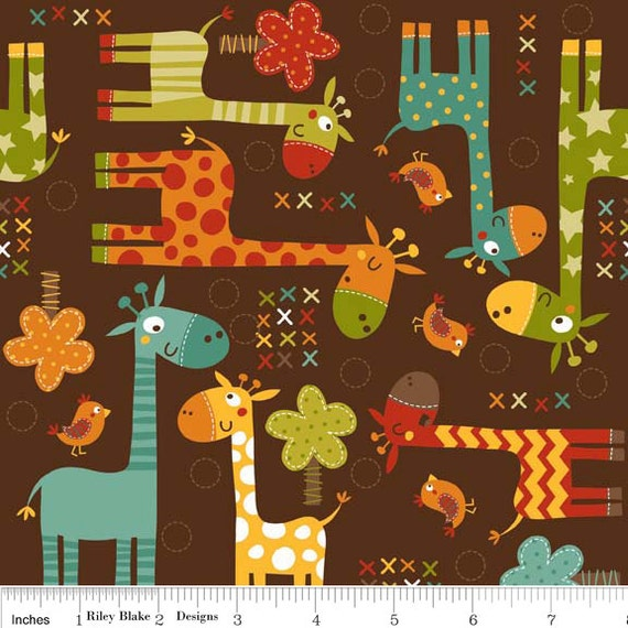"Riley Blake Designs ""Giraffe Crossing"" by The RBD Designers -Giraffe Main Brown C2850-BROWN"