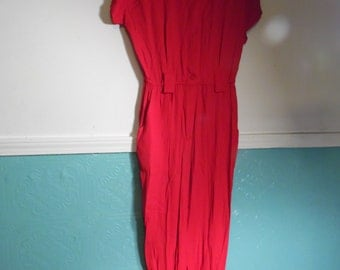 Vintage Casual Corner Size 10 Red Jump Suit, Made USA