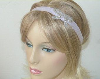 Rhinestone Bow Headband Sparkly Headband Lavender Headband Womans and Teens Headband