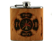Fire Fighter Gift Flask -real cherry wood wrapped flask - unique gift- Fireman