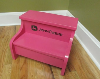 Childs Wood Step Stool John Deere Pink And Green