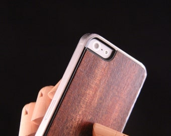 iPhone 5 5S SE Wood Phone Case - Dark Brown Hand finished wood smart phone case