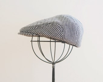 Baby Newsboy hat, Houndstooth suiting material newsboy cap - made to order