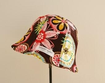 Flower sun hat, baby girl summer hat, reversible sun hat, flower summer hat, baby girl sun hat, toddler sun hat - made to order