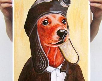 Pilot Daschund : Art Print Poster A3 Illustration Giclee Print Wall art Wall Hanging Wall Decor Animal Painting Digital Art