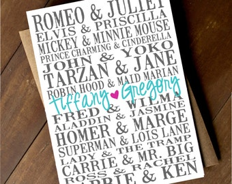 Personalized Wedding Note Cards - Bridal Shower Note Cards - Love Note Cards - Famous Couples - Wedding Gift - Bridal Gift
