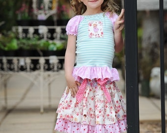SALE..Buy 2 get 1 Free....Instant Download PDF Sewing Pattern Tutorial Flouncy Knit Peasant Top Girls Sizes 3-6M to 10