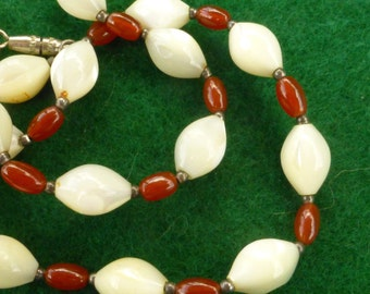 Carnelian and Mother of Pearl Oval Beads and Silver Spacer Beads Necklace