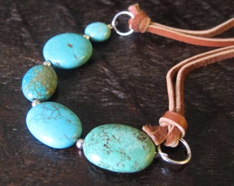Turquoise Necklace. Leather Cord. Gemstone. Casual. Gift. Blue Color. Bib. Statement. Beads
