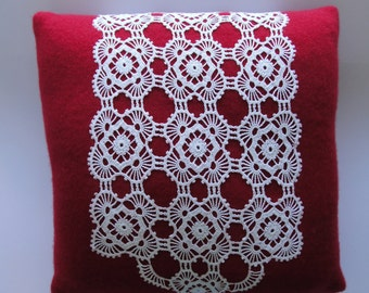 Upcycled Cherry Red Cashmere Sweater Pillow with Vintage Crocheted Doily