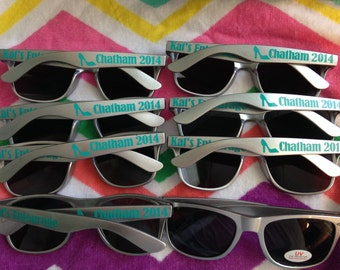 Set of 8 Silver Personalized Sunglasses with Clip Art, Bachelorette Party Favor