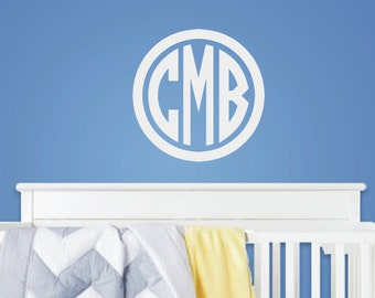 Circle Monogram Decal - Wall Decal - Monogram Initials - Three Initial Monogram - Vinyl Wall - Custom -Baby Nursery Decor - Vinyl Lettering