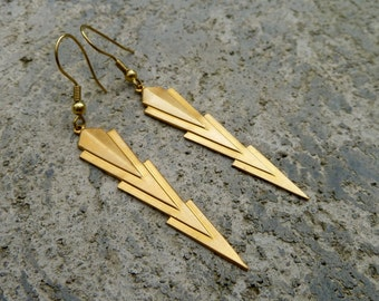 Geometric Brass Earrings - Arrow Earrings - Art Deco // Dangle Drop Earrings // Silver // Antique Brass