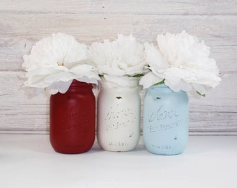 3- Hand Painted Mason Jars Flower Vases-Country Decor-America Collection-Cottage Chic-Shabby Chic-French Chic