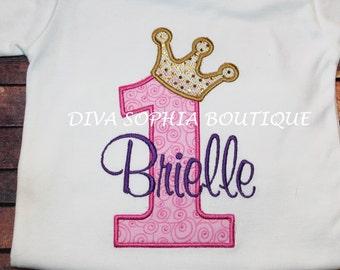 Pink, Purple and Gold Crown Number Bodysuit / T-shirt  - Birthday Onesie - Tshirt - Toddler